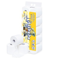 Giấy vệ sinh Alibaba gấu vàng 3 lớp (10 cuộn/1.4kg/ xách)